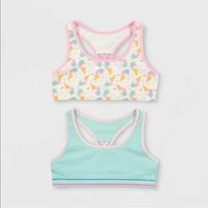 NEW Girls' 2 Pack Ice Cream Seamless Sports Bra XL
